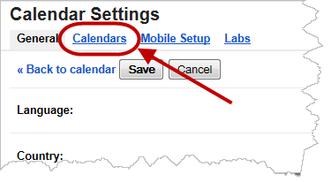 Choose Calendar on Settings page